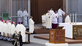 Pope Francesco Bergoglio celebrates the Corpus Domini mass at Sant Monica square in Rome. Ostia Lido - Rome, Italy June 3, 2018: Pope Francesco Bergoglio royalty free stock photography