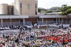 Pope Francesco Bergoglio celebrates the Corpus Domini mass in Sant Monica square in Rome. Ostia Lido - Rome, Italy June 3, 2018: Pope Francesco Bergoglio royalty free stock image