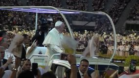 Pope Francis arrival National Stadium, Bangkok. Pope Francis Apostolic Visit to Thailand stock footage