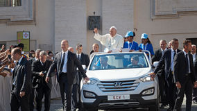 Pope Francis Bergoglio greeting the faithful with his hand Royalty Free Stock Photography