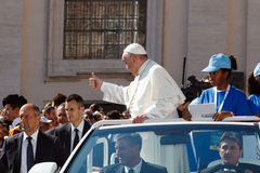 Pope Francis Bergoglio the new Pope Mobile. Royalty Free Stock Image