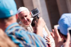 Pope Francis Smiles. Pope Francis at his weekly audience on April 30, 2014, in the Vatican stock photo