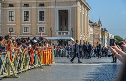 Pope Francis I on the popemobile. Vatican - Oct 14, 2018. Pope Francis I on the popemobile blesses the faithful crowd in St. Peter Square in Vatican royalty free stock photography