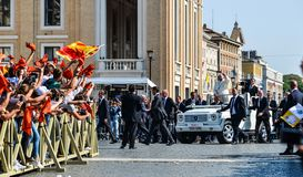 Pope Francis I on the popemobile. Vatican - Oct 14, 2018. Pope Francis I on the popemobile blesses the faithful crowd in St. Peter Square in Vatican stock photos