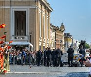 Pope Francis I on the popemobile. Vatican - Oct 14, 2018. Pope Francis I on the popemobile blesses the faithful crowd in St. Peter Square in Vatican stock images
