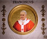 Pope Francis. The icon on the dome with the image of Pope Francis, Jorge Mario Bergoglio is the 266th and current Pope of the Roman Catholic Church, the basilica stock photography