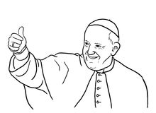 Pope Francis illustration. Hand drawn illustration of the pope Francis Jorge Mario Bergoglio smiling and showing thumb up. Editable vector file available Stock Image