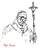 Pope Francis Jorge Mario Bergoglio, Pope of the Roman Catholic Church with cross Stock Image