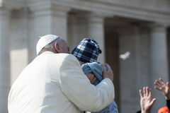 Pope Francis kiss child Royalty Free Stock Photo