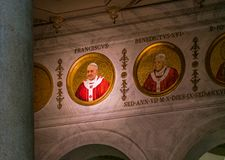 Pope Francis mosaic in the Basilica of Saint Paul Outside the Walls, in Rome. stock images