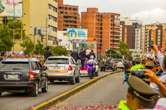 Pope Francis motorcade driving through city crowds Royalty Free Stock Image