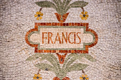 Pope Francis name in red mosaic patchwork Royalty Free Stock Photo