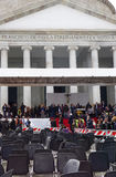 Pope Francis in Naples. Piazza Plebiscito after the Pope's mass. Stock Photos