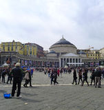 Pope Francis in Naples. Piazza Plebiscito after the Pope's mass Royalty Free Stock Photo