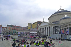 Pope Francis in Naples. Piazza Plebiscito after the Pope's mass. Royalty Free Stock Photo