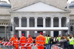 Pope Francis in Naples. Piazza Plebiscito after the Pope's mass. Stock Image
