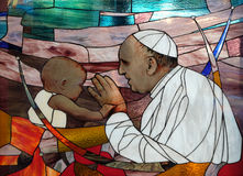 Pope Francis. Stained glass window in St Paul`s Cathedral in Tirana, Albania stock photo