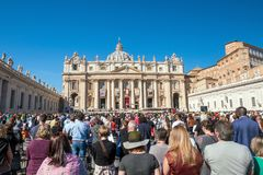 Free Pope Francis Processing Into Mass At St. Peter`s Square Royalty Free Stock Photos - 120695688