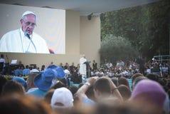 Pope Francis in Sardinia stock image