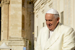Pope Francis at St. Peter`s Square stock image