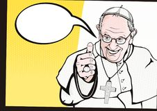Pope Francis. Vatican. Circa year 2018. Francis The Bishop of Rome latin:Franciscus Episcopus Romanus. Flat vector of Pope Francis in comics style with halftone stock illustration