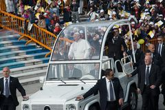 Pope Francis visit Naples - public event Stock Photo