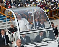 Pope Francis visit Naples - public event Royalty Free Stock Photo