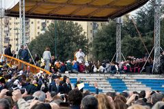 Pope Francis visit Naples - public event Royalty Free Stock Images
