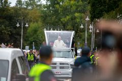 Pope Francis visited in Lithuania royalty free stock photo