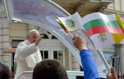 Pope Francis visited Sofia, Bulgaria on 5 May 2019. Pope Francis visited Sofia, Bulgaria stock photo