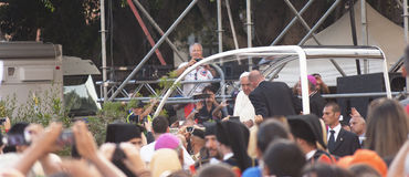 Pope Francis visits Sardinia royalty free stock images