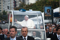 Pope Francis waving to crowd Stock Photo