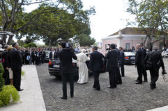 Pope getting in Car, Journalists, Estate Security, Portuguese Former President, Lisbon Stock Photos