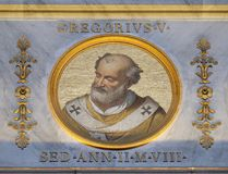 Pope Gregory V. The icon on the dome with the image of Pope Gregory V, born Bruno of Carinthia was Pope from 3 May 996 to his death in 999, basilica of Saint Royalty Free Stock Photography