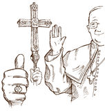 Pope hand draw element Stock Photography