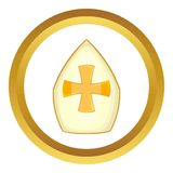 Pope hat vector icon. In golden circle, cartoon style isolated on white background Stock Photo