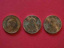 Pope John Paul II, Benedict XVI and Francis I 50 cents coins. 50 euro cents coins EUR from Vatican City bearing the portrait of pope John Paul II Karol Josef Stock Photography