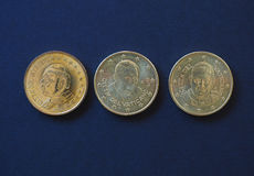 Pope John Paul II, Benedict XVI and Francis I 50 cents coins. 50 euro cents coins EUR from Vatican City bearing the portrait of pope John Paul II Karol Josef Stock Photo