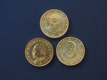 Pope John Paul II, Benedict XVI and Francis I 50 cents coins. 50 euro cents coins EUR from Vatican City bearing the portrait of pope John Paul II Karol Josef Royalty Free Stock Images