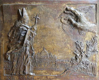 Pope John Paul II. Relief on the bronze door of the church of St. James the Greater in Porto Azzurro, Elba, Italy Stock Photography
