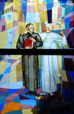 Pope John Paul II. Stained glass window in St Paul`s Cathedral in Tirana, Albania Stock Photography