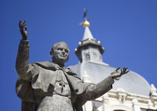 Pope John Paul II Statue. At Almudena Cathedral (Madrid, Spain Stock Photos