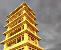 Pope John Paul II Tower. Sunset reflecting on the tower Royalty Free Stock Image