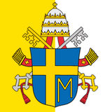 Pope john paul second coat of arms and vatican flag Royalty Free Stock Images