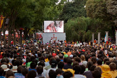 Pope in Madrid. Hundreds of thousands of pilgrims are watching the pope on videoscreens during his visit to Madrid on August 18, 2011 Royalty Free Stock Photography