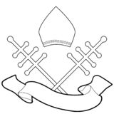 Pope miter with crosiers and blank banner text isolated on white background vector illustration