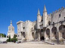 Pope palace in Avignon. Central square, Provence, Cote d'Azur, F Stock Photo