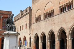 Pope Paul V statue Cavour square in Rimini Royalty Free Stock Photos