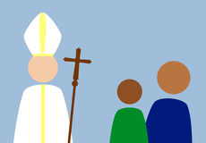 Pope and people. Stylized image of Roman Pope with people Royalty Free Stock Photos