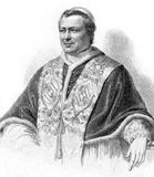 Pope Pius IX. (1792-1878) on engraving from the 1800s. Born Giovanni Maria Mastai-Ferretti, was the longest reigning elected Pope in Church history during 1846 Stock Photography